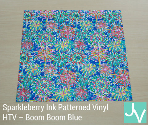 JamakVinyl - Sparkleberry Patterned Heat Transfer Vinyl Boom Boom Blue Spakleberry Ink