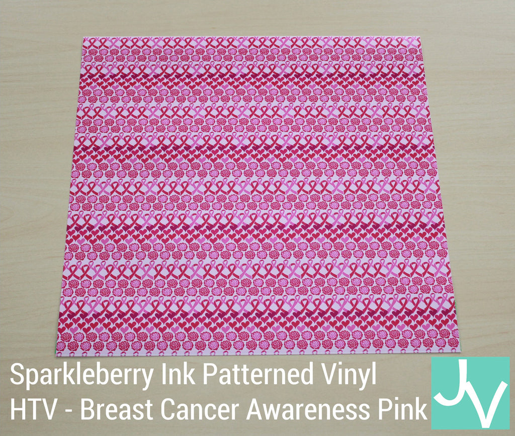 JamakVinyl - Sparkleberry Patterned Heat Transfer Vinyl Breast Cancer Awareness Pink Spakleberry Ink