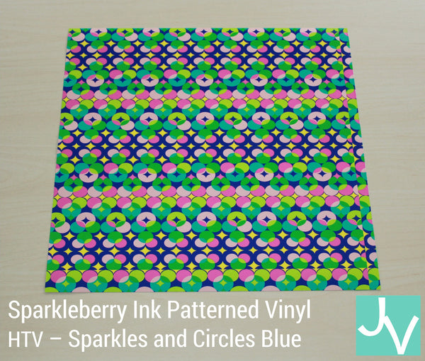 JamakVinyl - Sparkleberry Patterned Heat Transfer Vinyl Sparkles and Circles Blue Spakleberry Ink