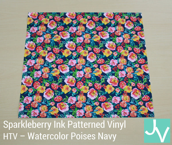JamakVinyl - Sparkleberry Patterned Permanent, Outdoor Glossy Vinyl Watercolor Poises Navy Sparkleberry Ink