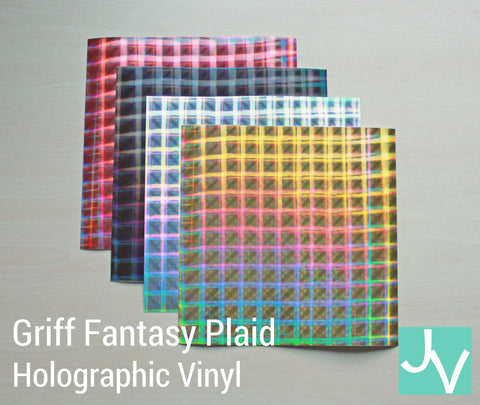 JamakVinyl - Griff Fantasy Plaid Holographic Permanent, Outdoor Vinyl Griff