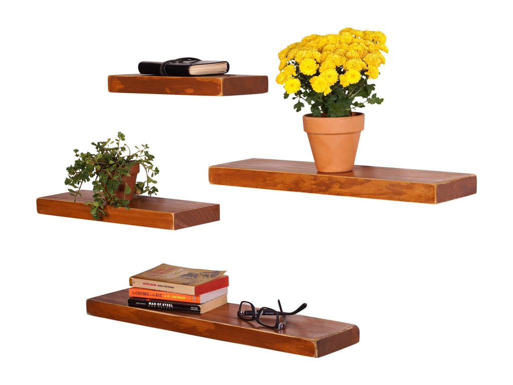 Weathered Edge Pine Floating Shelves (Set of 4) - DAKODA LOVE