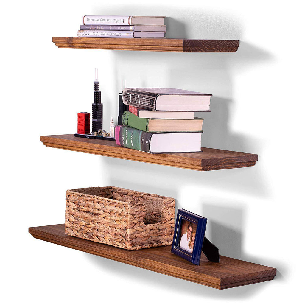 Routed Edge Pine Floating Shelves (Set of 3) - DAKODA LOVE