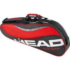 3 racket tennis bag in black and red