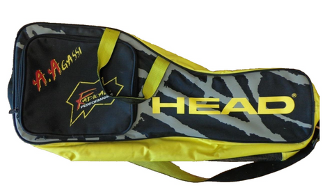 Andre Agassi Head Radical yellow and black tennis racket bag
