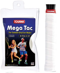 Tourna Mega Tac Extra Tacky Overgrips 10 pack rolle White