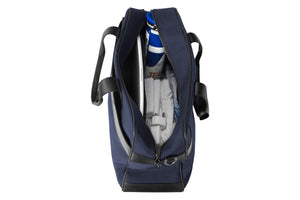 Epirus 24 hour tennis bag in blue open top view