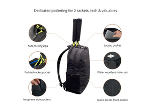 Epirus Borderless Backpack Black Tennis Bag Features Overview