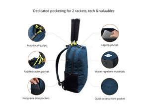 Epirus Borderless Backpack Blue Tennis Bag Features Overview