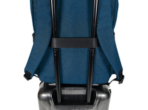 Epirus Borderless Backpack Blue Tennis Bag on Rolling Luggage