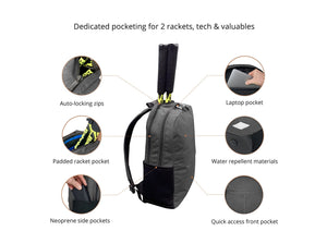 Epirus Borderless Backpack Grey Tennis Bag Features Overview