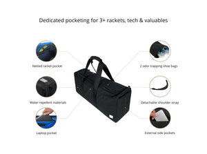 Epirus Dynamic Duffel Black Tennis Bag Features Overview
