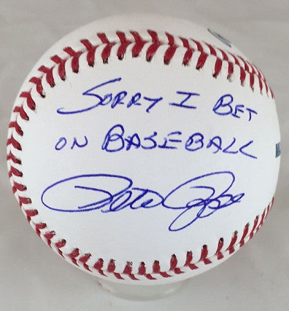 Cincinnati Reds Pete Rose Autographed MLB Baseball with 'Sorry I Bet on Baseball' inscription