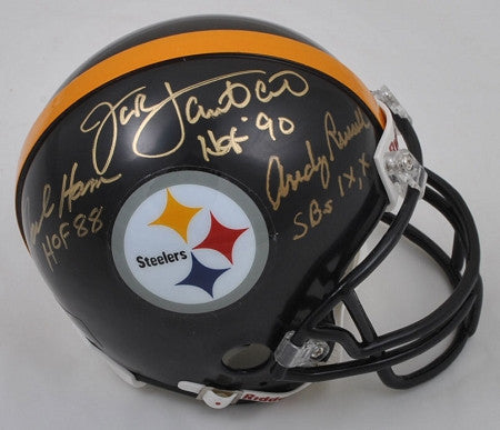 Jack Lambert, Jack Ham, and Andy Russell Autographed Pittsburgh Steelers Black Facemask Mini Helmet with multiple inscriptions