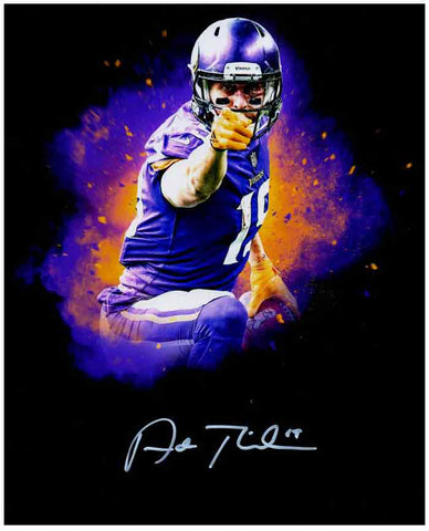 Adam Thielen Autographed Custom Black Pointing 8x10 METALIC PAPER Photo