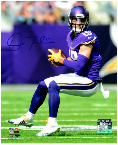 Adam Thielen Autographed with Ball in Purple (Side View) 8x10 Photo