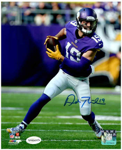 Adam Thielen Autographed Running with Ball in Purple (Front View) 8x10 Photo
