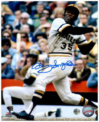 Manny Sanguillen Signed Finishing Swing 8x10