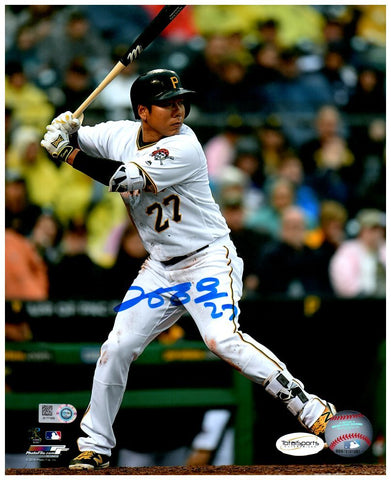 Jung-ho Kang Autographed Batting in White with Jolly Rodger on Sleeve Vertical 8x10