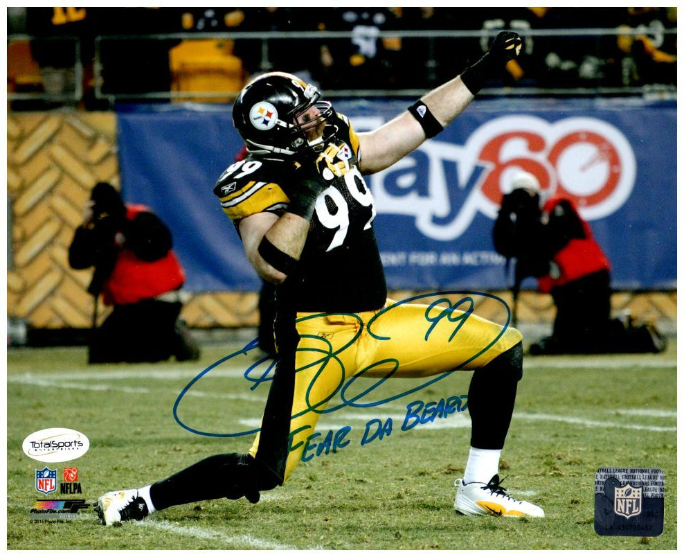 "Brett Keisel Signed in Bow and Arrow Stance 8x10 Photo with ""Fear da Beard"""
