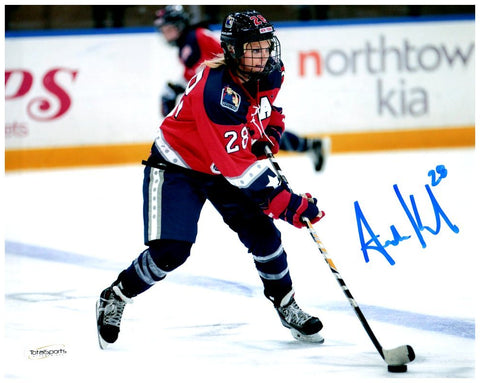 Amanda Kessel Signed New York Riveters Side View 8x10 Photo