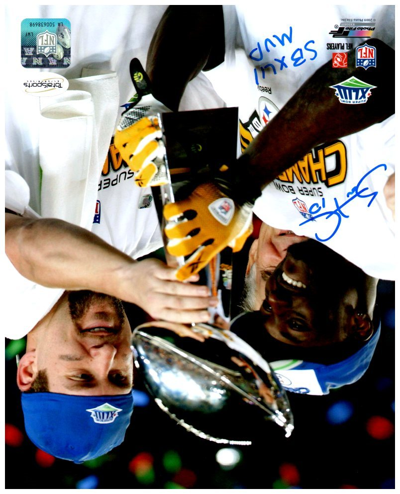 Santonio Holmes Signed 8x10 Holding Lombardi Trophy with Ben Roethlisberger Photo with SBXLIII MVP