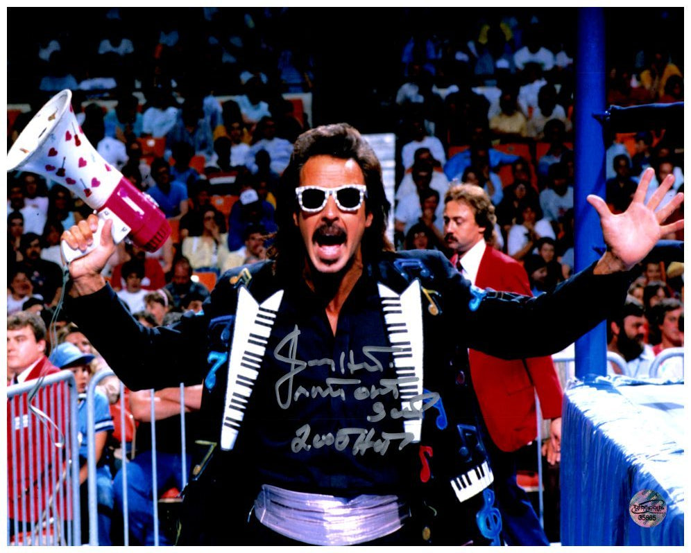 "Jimmy Hart in Piano-Keyboard Lapel Jacket Signed 8x10 Photo with ""Mouth of South"" and ""2005 HF"" inscriptions"