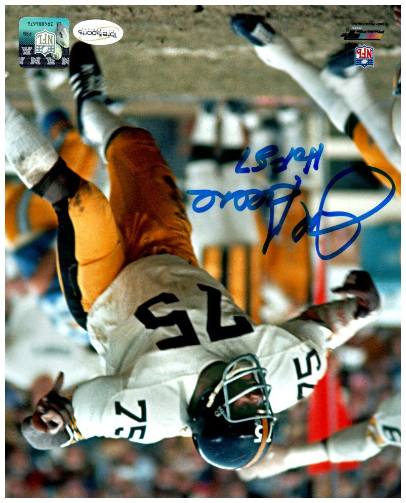 Joe Greene SIGNED Attacking in White 8x10 Photo