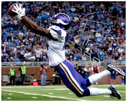 Stefon Diggs Autographed Stretching Out Color 8x10 Photo