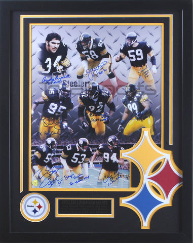 Steeler Linebacker Greats Multi Signed 16x20 - Professionally Framed