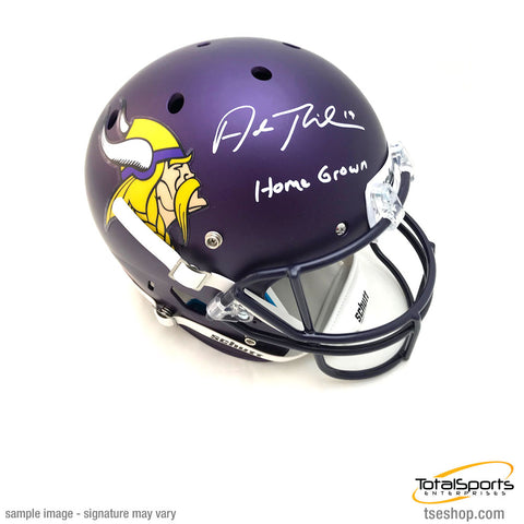 Adam Thielen Signed Minnesota Vikings FS Schutt Helmet with Home Grown