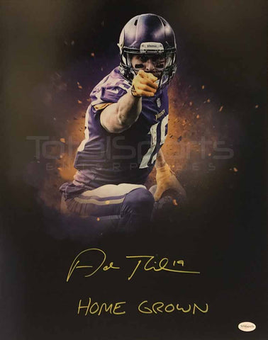 Adam Thielen Autographed Black Custom Pointing with Home Grown 16x20 Photo
