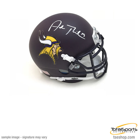 Adam Thielen Signed Minnesota Vikings Dark Purple Schutt Mini Helmet