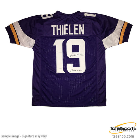 Adam Thielen Signed Custom Purple Football Jersey with Made in MN