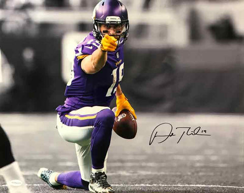 Adam Thielen Autographed Spotlight Pointing 16x20 METALLIC PAPER Photo