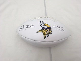 Adam Thielen Signed Minnesota Vikings White Logo Football with 'Hooked on a Thielen'