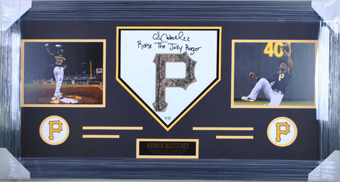 Andrew McCutchen Home Plate - Camo P - Raise The Jolly Roger Signed - Professionally Framed