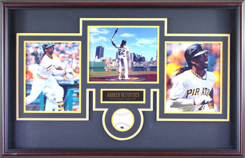 Andrew McCutchen Signed Baseball with 3 - 8x10's - Professionally Framed