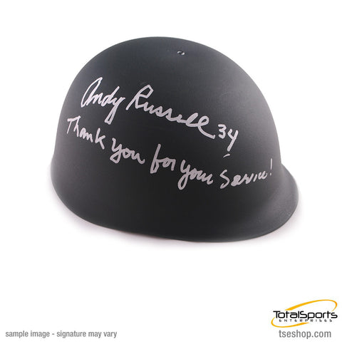 Andy Russell Autographed Custom Army Helmet with Thank you for your Service