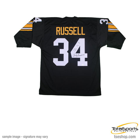 Andy Russell Autographed 3/4 Sleeve Black Custom Jersey Insc. 'SB IX, X'