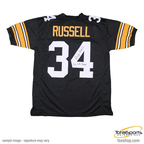 4b35ad0c7 Andy Russell Autographed Black Custom Jersey Insc. 2X SB Champs