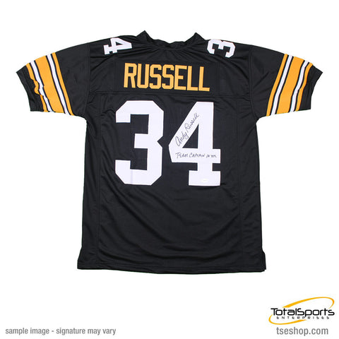 Andy Russell Autographed Black Custom Jersey Insc. Team Captain 10 Years