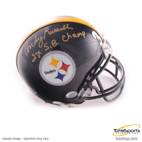 Andy Russell Autographed Pittsburgh Steelers Black Mini Helmet with 2X SB Champ