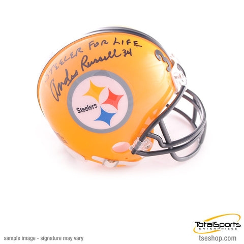Andy Russell Autographed Pittsburgh Steelers Yellow 75th Anniversary Mini Helmet with