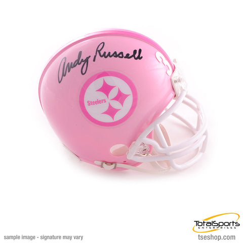 Andy Russell Autographed Pittsburgh Steelers Pink Mini Helmet