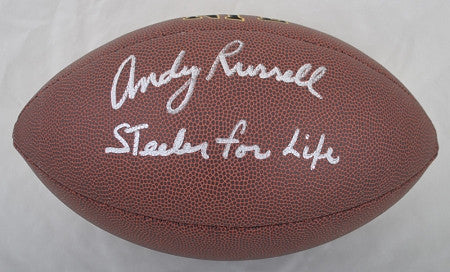Andy Russell Autographed Replica NFL Football with Steeler For Life!