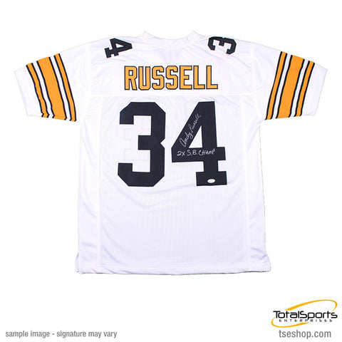 Andy Russell Autographed White Custom Jersey Insc. 2X SB Champs