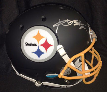 Antonio Brown Autographed Black Custom Replica SCHUTT Helmet with Matte Finish and Gold Facemask
