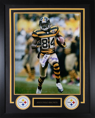 Antonio Brown Running in Bumblebee Jersey 16x20 Signed - Professionally Framed