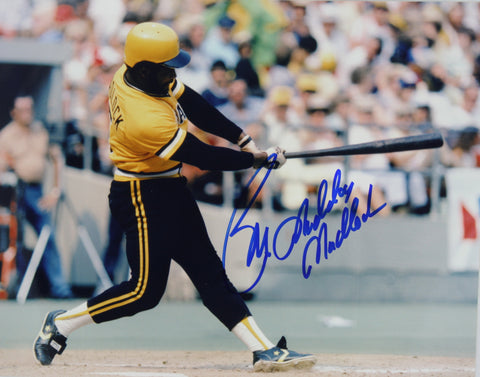 Bill Madlock Autographed 8x10 Swinging in Yellow and Black Uniform
